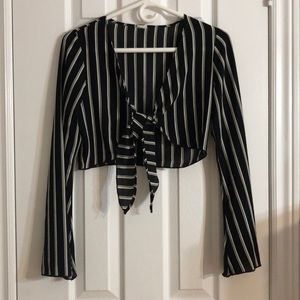 Stripped Cropped Blouse